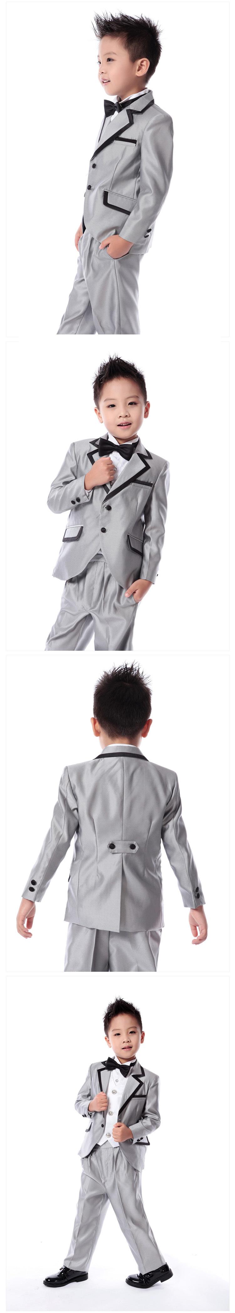 Скидки на Четыре пьесы Дети костюм мальчики серебряный костюм детский костюм показать цветочница платье (куртка + брюки + рубашка + галстук-бабочка)