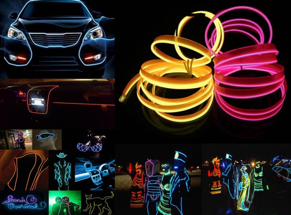 1m/2m/3m/5m Flexible Car EL Wire Neon Light Dance Festival led strip EL light DC12V drive Band sewing edge 3V Battery Controller(China (Mainland))