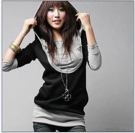 2015 New Autumn Fashion Women Lady False Two Piece T Shirts Long Sleeve Red ,Black Tops Tees M, L, XL,XXL - Beautiful sexy women's clothing store