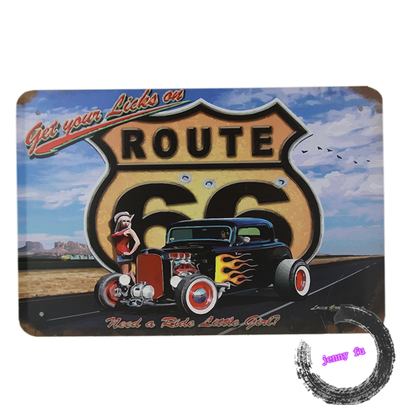 Vintage metal Tin signs classic bubble car ROUTE 66 metal poster Home decor Pub wall B3(China (Mainland))
