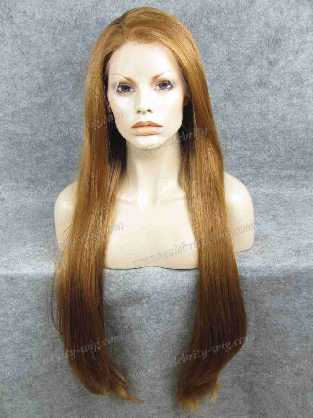 N22-27R 30INCH Long Ginger Blonde Silky Straight Synthetic Lace Front Wig<br><br>Aliexpress