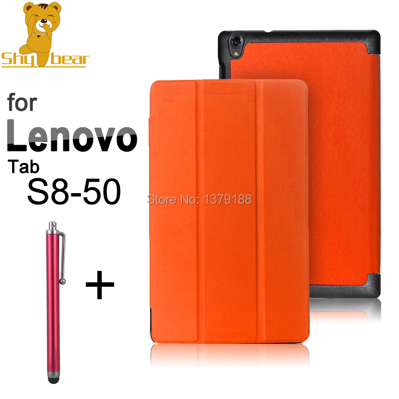 Newest case for Lenovo S8 50 Triangle folded PU leather cover case for Lenovo Tab S8