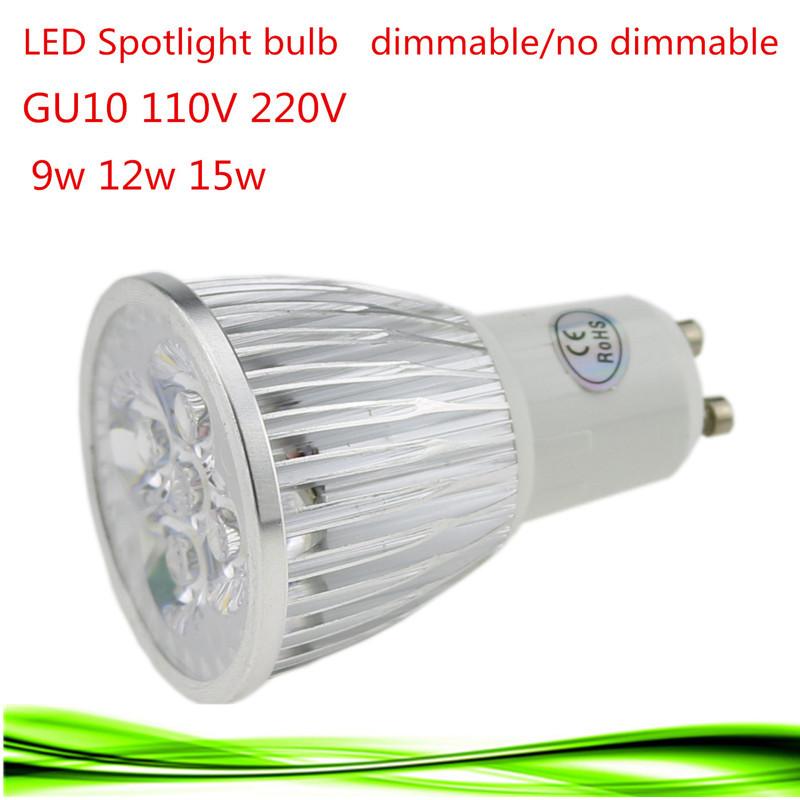 1X Super Bright 9W 12W 15W GU10 LED Bulbs Light 110V 220V Dimmable Led lamp Warm/Natural/Cool White GU10 LED light downlight(China (Mainland))