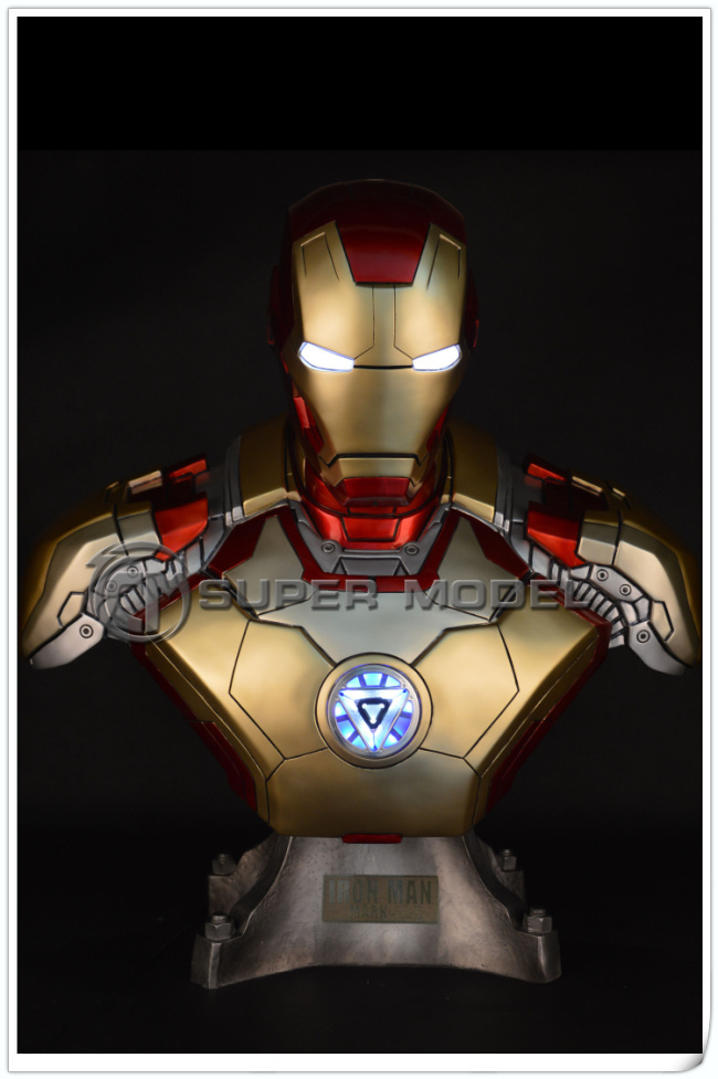 Super realistic 46cm 1:1 Marvel Comics Super Heroes Iron Man Body Resin Plastic Action figuers Model toys collectible figurines