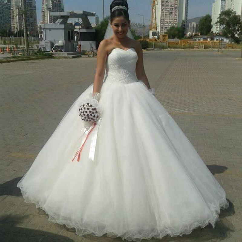 Custom made new arrival wedding dresses off the shoulder for Simple white strapless wedding dress
