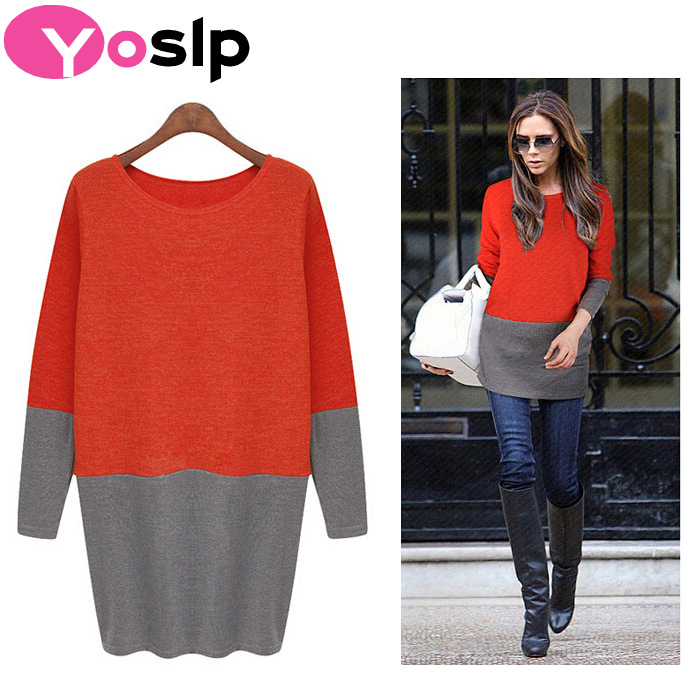 2015 New Autumn Winter Victoria Beckhams Women Dress Package Hip Stitching Slim O-Neck Long-Sleeved Casual Knit Dress(China (Mainland))