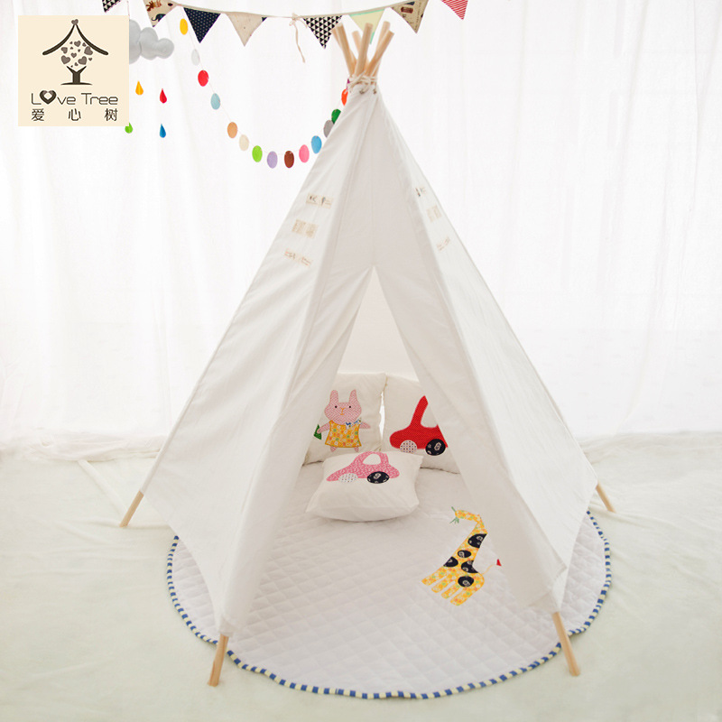 Brand YUETOR high quality 100% cotton child teepee new kids play tenten folding tent children game house family 1 person tents