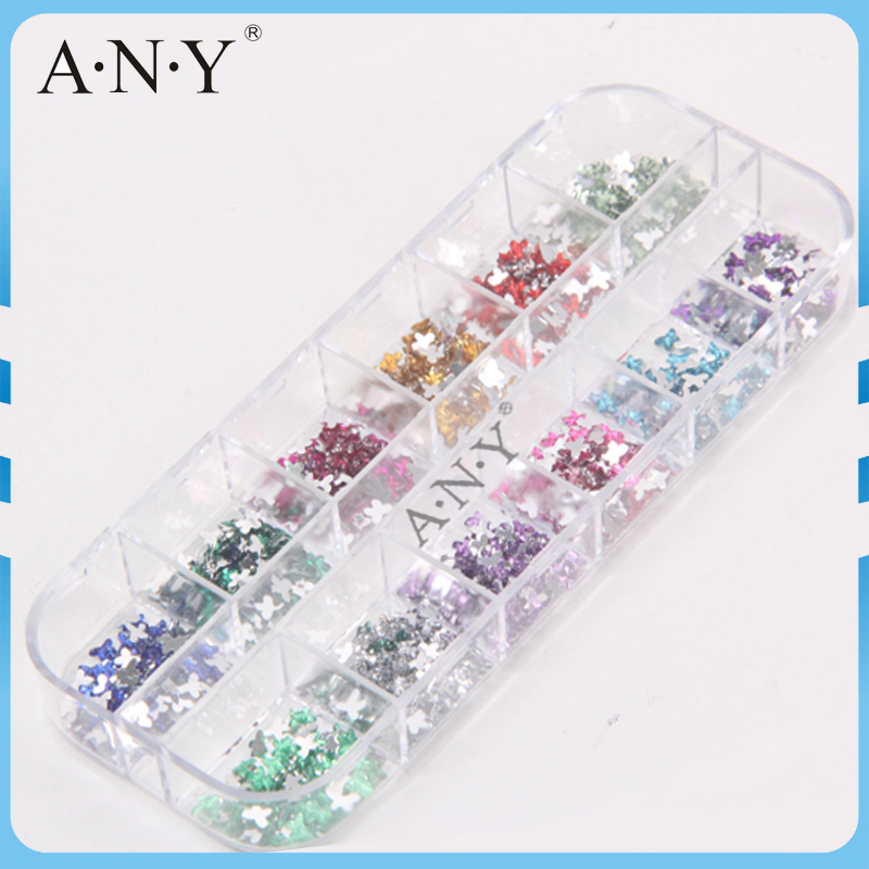 2016 Rhinestone Charm Design ANY 12 Colors Butterfly-Shaped Crystal Nail Art Decoration 10Boxes/Lot(China (Mainland))