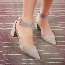Velvet package with banding strap pointed toe in with sandals thick heels shoes grey black