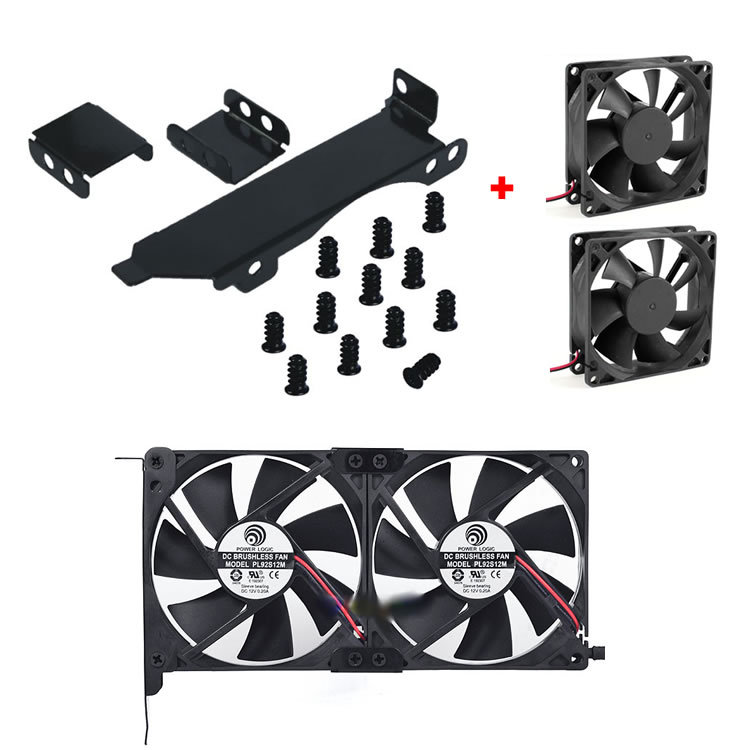 Dual Fan Mount Rack PCI Slot Bracket for Video Card +2 80MM/90MM PC Case Fan(China (Mainland))