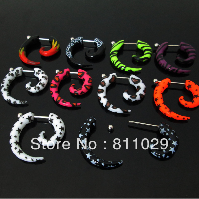 New Hot wholesale body piercing jewelry 100pcs mixed Gauges mixed 10 logos print acrylic spiral fake taper  free shipping