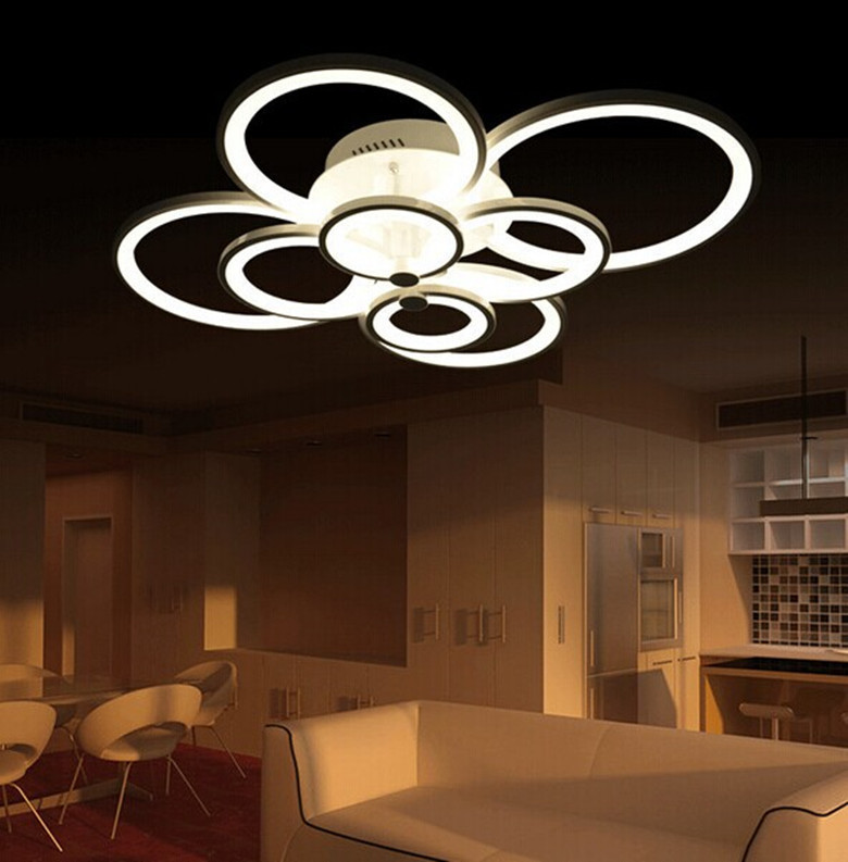 New led ring light living room ceiling bedroom lamp modern for Modern living room ceiling lights