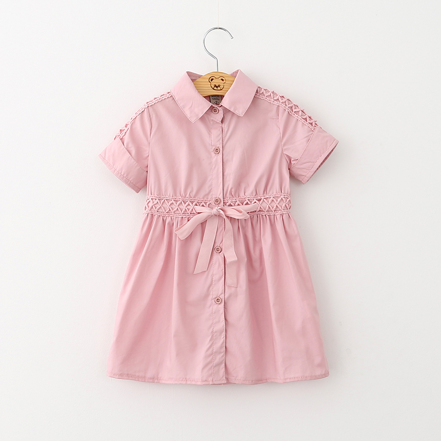 Toddler Girls Summer Dresses Kids Brief Solid Lace Flower Clothes Baby Short Sleeve Bow Sashes Children Clothing 6pcs/LOT<br>