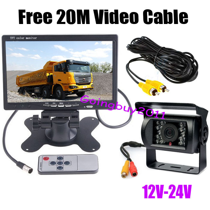 """12V-24V 18 LED IR LED Reversing Camera Car Rear View Kit + 7"""" LCD Monitor for Bus Truck with 20M video cable 10pcs/lot(China (Mainland))"""