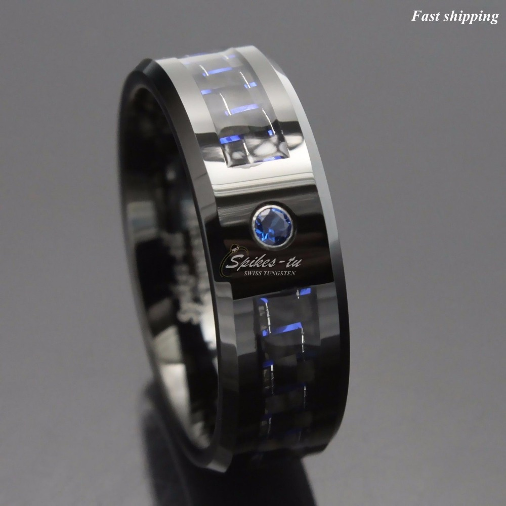 Черный и синий углеродного волокна вольфрама кольцо синий мужские ювелирные изделия бесплатная доставка