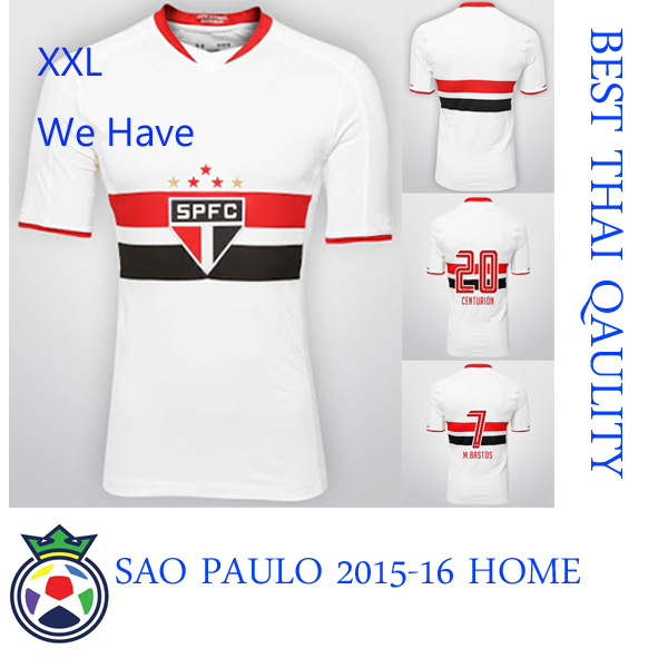Thai Qaulity 2015-16 SAO PAULO Home Jersey with Top Material Embroider Team Badge, Free Shipping , have Biggest size XXL(China (Mainland))