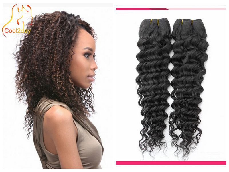 Deep wave 2Bundles Curly Weave Human Hair Extensions best Hair Products Brazilian Deep Wave Curly Virgin Hair bundle coupon(China (Mainland))