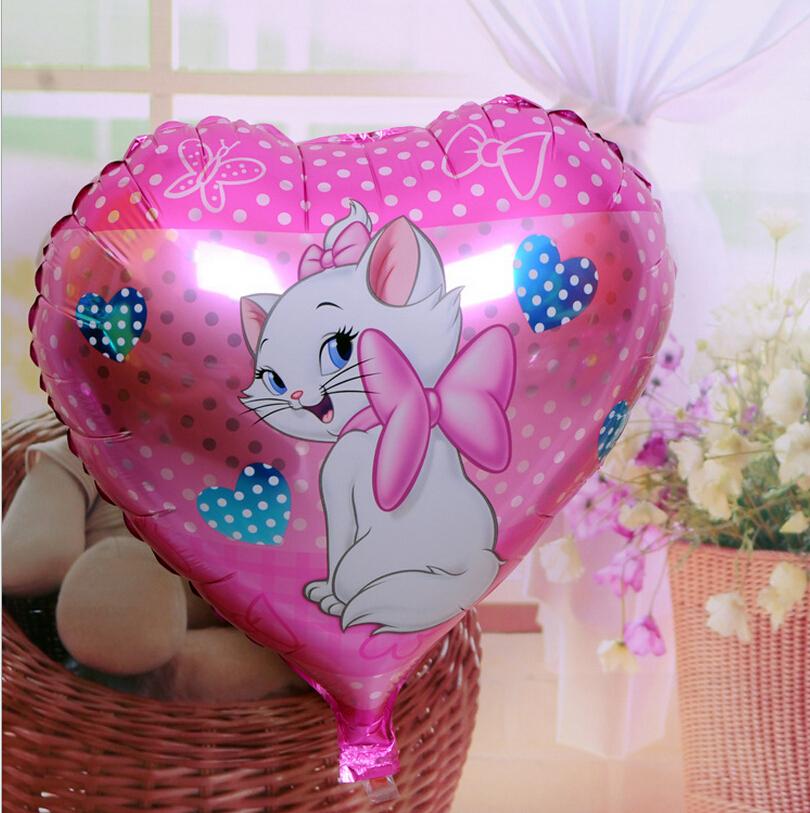 Free shipping 18 inch wholesale aluminum film balloon cartoon balloon manufacturer Marie cat heart SL(China (Mainland))