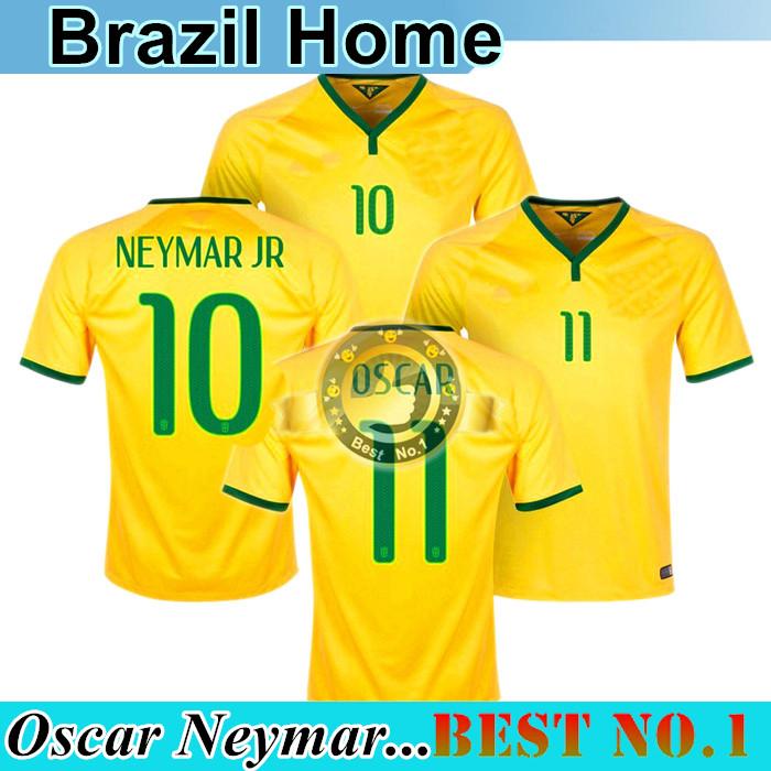 2016 2015 Jersey NEYMAR OSCAR COUTINHO Soccer Jersey Brazil Home Yellow For Brazil Home Football Jerseys(China (Mainland))
