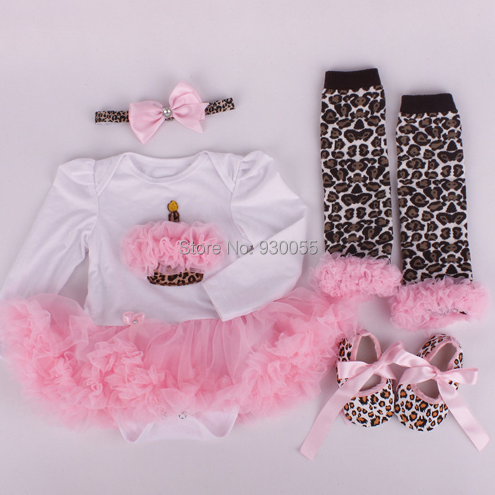 Newborn Baby Girls Clothing Set Kids Clothes Children Bodysuit Top+Headband Bow Accessories+Leg Warmers Knee Pads Pants+Shoes(China (Mainland))
