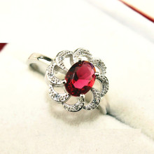 60% off Flower Red Created Diamond Ring for Women 925 Sterling Silver Crystal Jewerly Ruby Engagement Rings Female Ulove Y038
