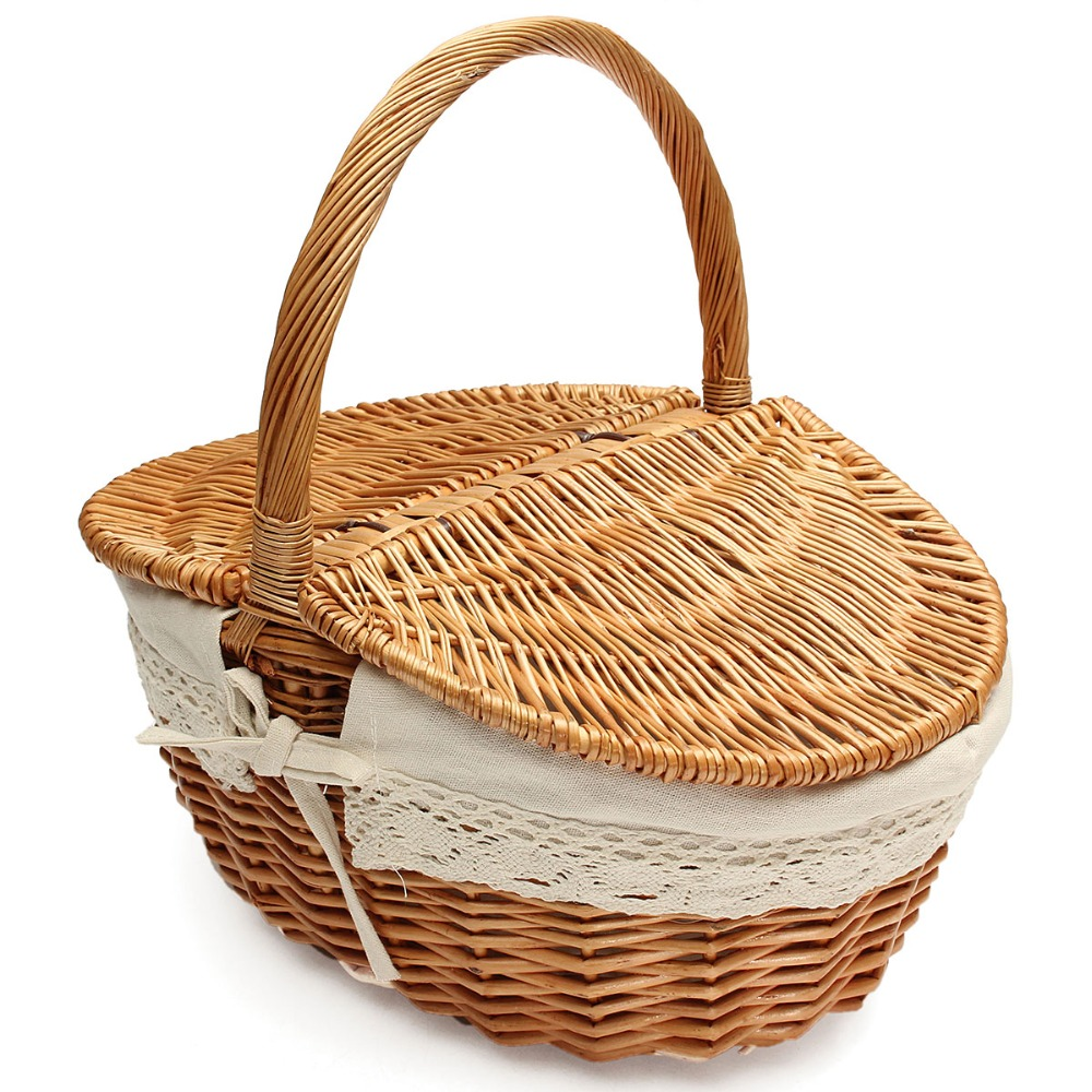 Wicker Baskets With Handles And Lid : Picnic basket willow wicker ping hamper with lid and