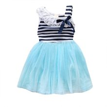 Hot Selling New Baby Girls Lace Round Collar Bowknot Striped Dress Kids Clothes Tutu Tulle
