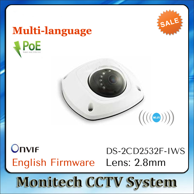 Multi-language DS-2CD2532F-IWS Mini IP Camera 2.8mm Wifi 1080P IR 3MP Dome Built-in Mic Audio SD Card Slot POE Network Camera<br><br>Aliexpress
