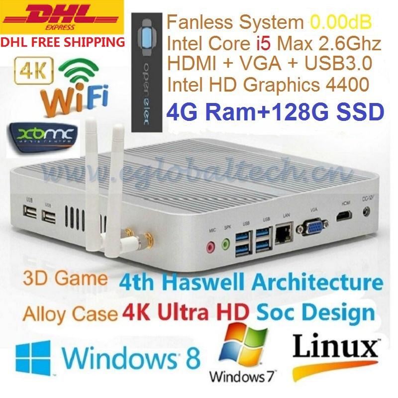 Mini Computer Thin Client Fanless PC Intel Core i5 4200U 4GB DDR3 128GB SSD Haswell Full 4K HD 3D Game DHL Free Shipping HTPC(China (Mainland))