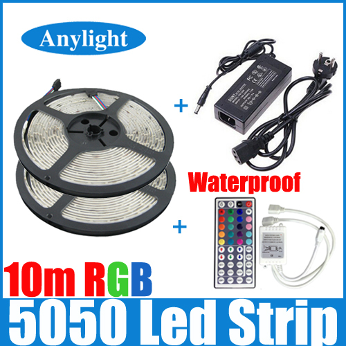 10M rgb led strip 5050 waterproof 2*5m smd strip lighting +44 key IR remote controller +DC12V 5A Power Adapter WLED53(China (Mainland))
