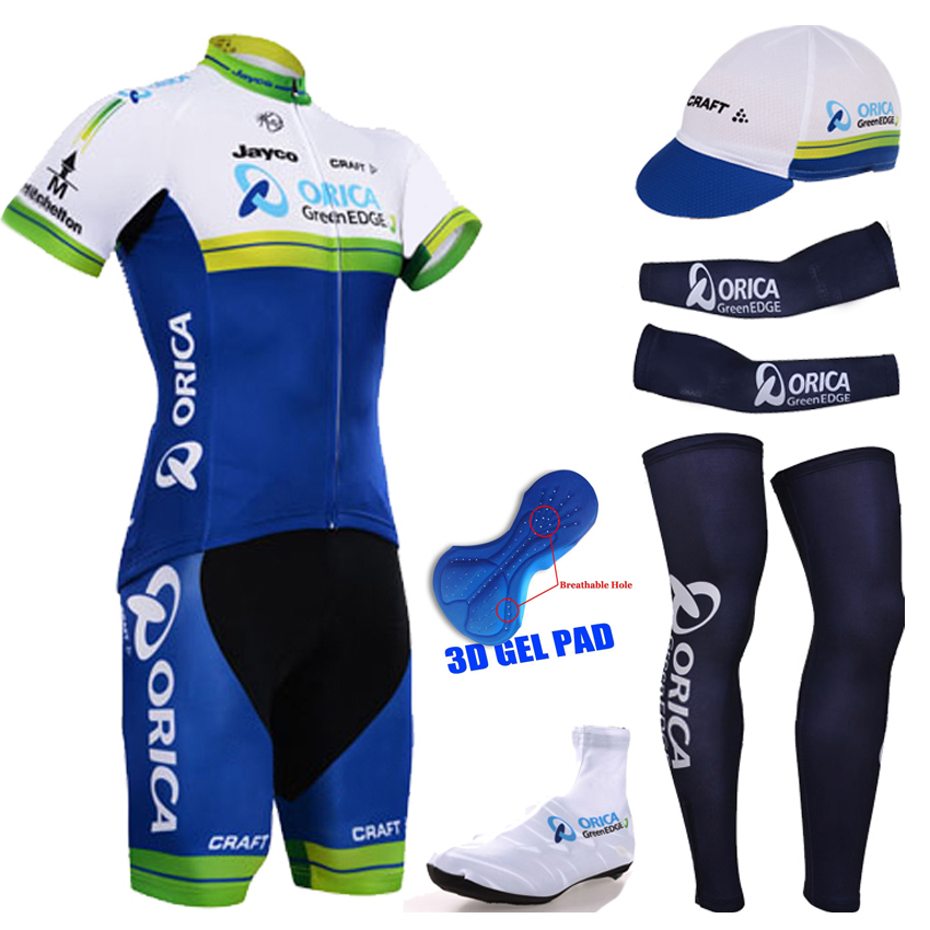 2015 Team Orica cycling jersey Greenedge Cycling Clothing Sets short sleeve jersey and 3D gel bib short sports hat shoe covers(China (Mainland))