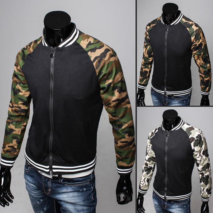 2015 New Fashion Camouflage Jacket Free Shipping Patchwork College Baseball Cotton Jacket Men's Clothing Coats 3 Color(China (Mainland))