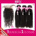 Kinky Curly Virgin Hair Weave With Closure Peruvian Curly Hair Bundles With Lace Closure 4x4 Afro