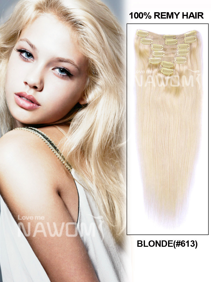 """Free shipping 14""""-24"""" 100% extensions clips in on blonde great length best weaves hair(China (Mainland))"""