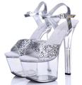 Women Shoes Sandals Model T Runway Silver Crystal Sandals Female 17cm Super High Heeled With Fine