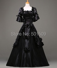 black Medieval Renaissance ruffles floral Gown queen Dress Victorian Gothic/Marie Antoinette/civil war/Colonial Belle Ball