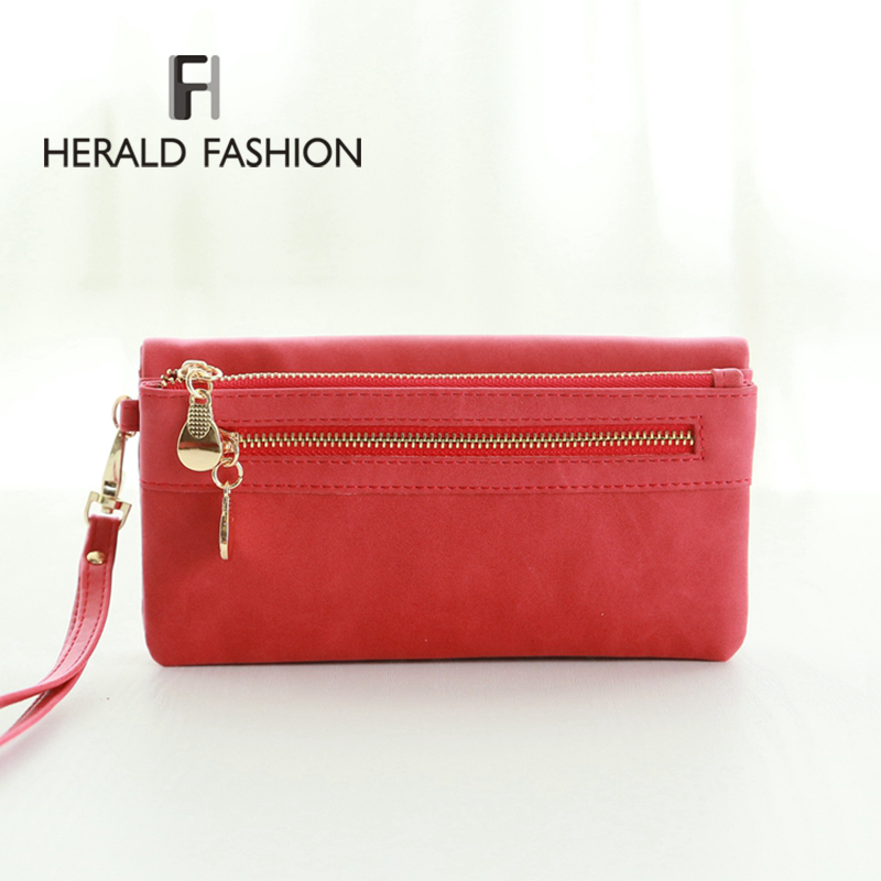 Fashion Women Wallets Dull Polish Leather Wallet Double Zipper Day Clutch Purse Wristlet Portefeuille Handbags Carteira Feminina(China (Mainland))