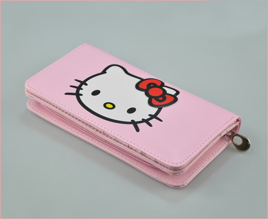 Hello Kitty Multifunctional PU Wallet Standard Long Women Wallets & Children Purse Pink Color Free Shipping(China (Mainland))