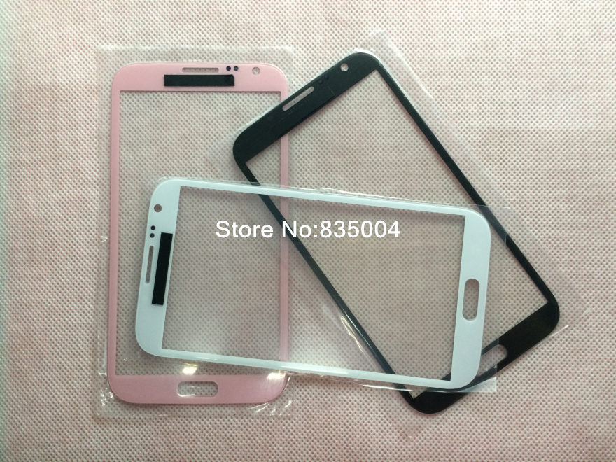 10PCS Replacement for samsung galaxy note 2 front glass n7100 outer screen touch glass lens LCD Gray / white / pink