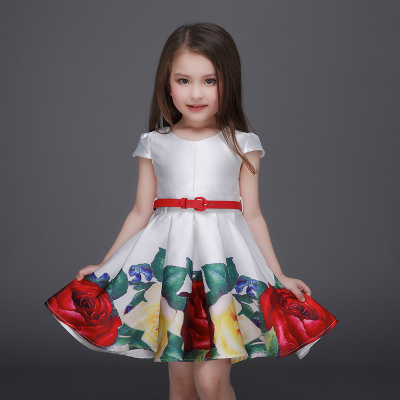 Kids Clothes Children 2016 Summer Little Girl Dress With Red Belt Child Gown Princess Fancy Vestido Princesa Costumes Sundress(China (Mainland))