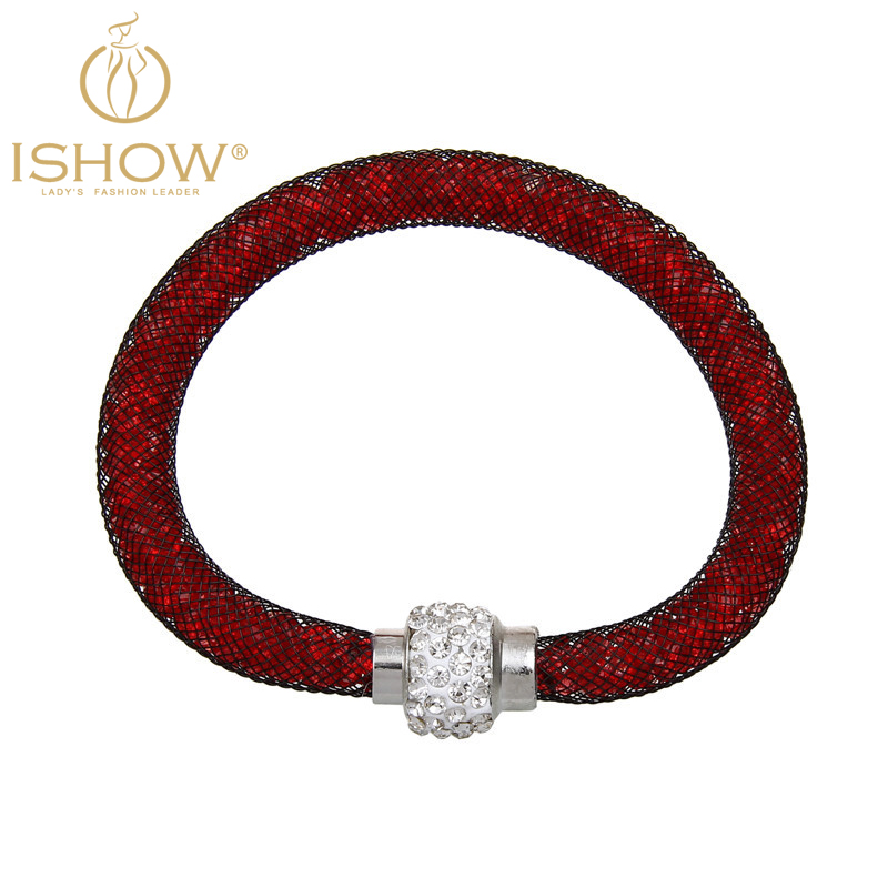 Fashion Multi Color Mesh Bracelet Filled Crystal Rhinestone Ball Magnetic Clasp Pulseira Women - I SHOW Ali Store NO. 66 store
