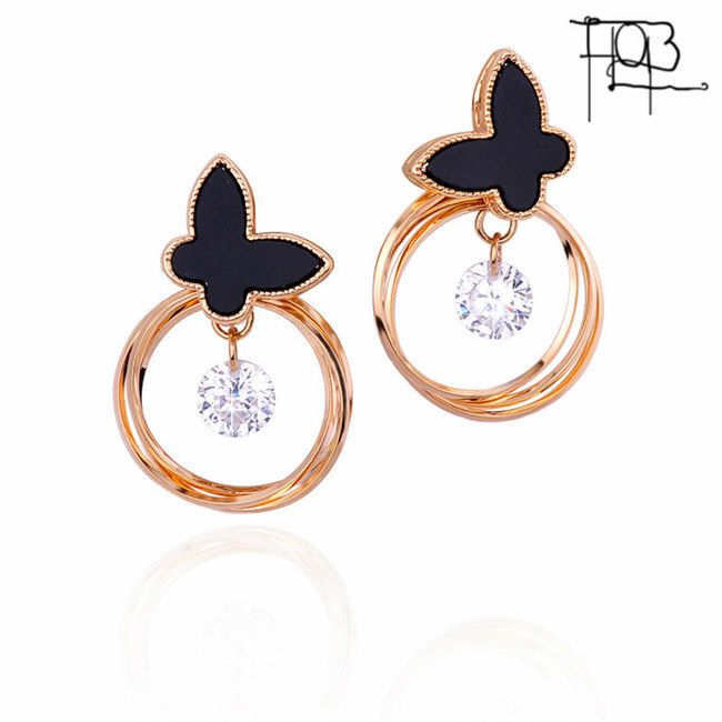 New Trendy 18K Gold Plated Alloy Black Butterfly Shaped CZ Stud Earrings For Women Gold Studs(China (Mainland))