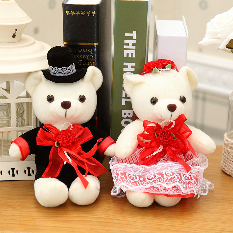 2pcs/set 20cm Couple Bear Wedding Teddy Bear Plush toys wholesale Christmas gift Wedding gift(China (Mainland))