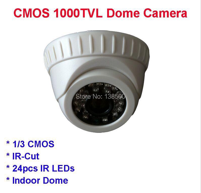Free Shipping Home Security CCTV Camera 1000TVL 1/3 CMOS Dome Indoor IR-Cut 3.6mm Lens Camera