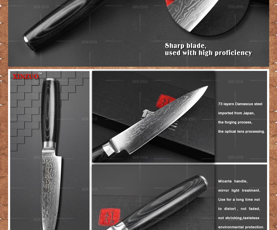 "Buy cocx 5"" inches Utility knife Damascus kitchen knife Japanese VG10 Universal fruit paring knife with Micarta handle FREE SHIPPING cheap"