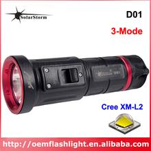 Buy SolarStorm D01 Cree XM-L U2 White 900 Lumens 3-Mode Diving Flashlight Black  (1x18650/1x26650 ) for $21.55 in AliExpress store
