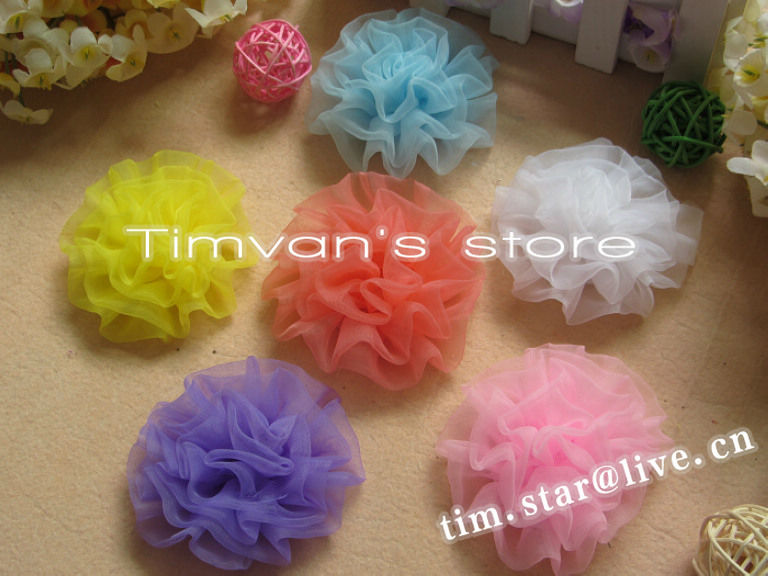 Sample order Baby girls hair Accessory kids pretty Yarm Hair Flower without hairpin 8colors can choose 20pcs/lot(China (Mainland))