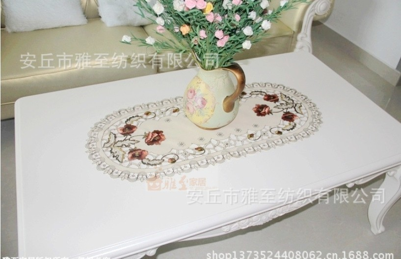 40*85cmElliptical grade satin fabric embroidered openwork coffee table cloth table cloth table runner tablecloth round tablec(China (Mainland))