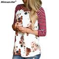 Korean Style Striped Floral Tshirt Women Casual Raglan Long Sleeve Slim Fit T Shirt Femme Plus Size T-shirt Camisetas Mujer