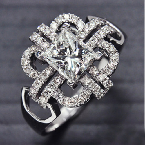 1Ct Astounding SONA Synthetic Diamond Party Ring 925 Silver 18k White Gold Plated Women Ring Wholesale Drop Shipping DY-JZ0117(China (Mainland))
